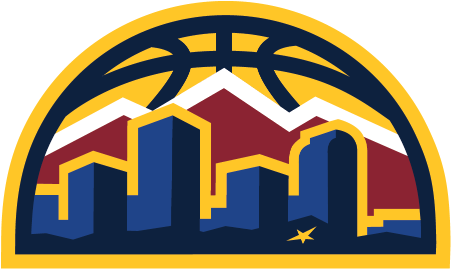 Denver Nuggets Logo Alternate Logo (2018/19-Pres) - Denver skyline in blue and gold with red mountain range behind with half a basketball acting as sun in the background SportsLogos.Net