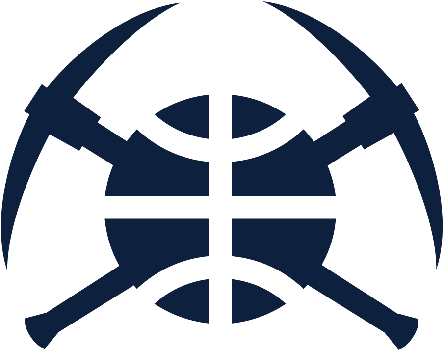 Denver Nuggets Logo Alternate Logo (2018/19-Pres) - Two crossed pickaxes in blue with a basketball between them SportsLogos.Net