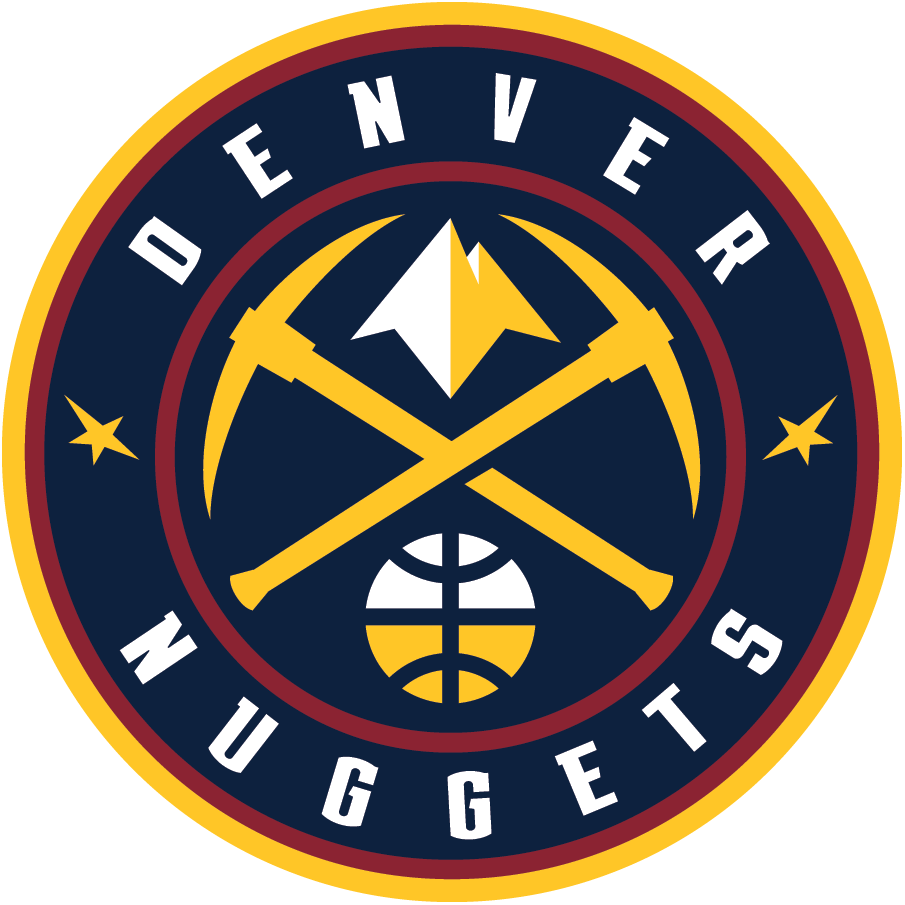 Denver Nuggets Logo Primary Logo (2018/19-Pres) - Gold pickaxes with a mountain peak between them, a white and gold basketball below inside a navy blue and red roundel, team name around it SportsLogos.Net