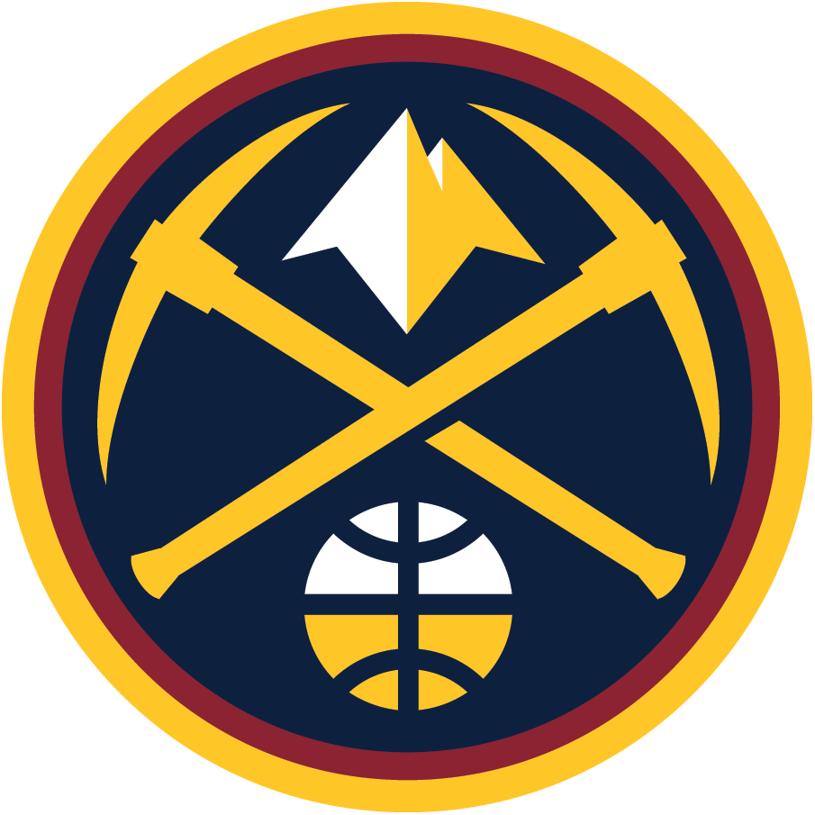 Denver Nuggets Logo Alternate Logo (2018/19-Pres) - Denver Nuggets Primary Icon logo - Gold pickaxes with a mountain peak between them, a white and gold basketball below inside a navy blue and red circle SportsLogos.Net