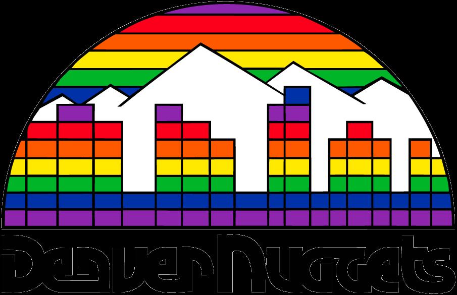 Denver Nuggets Logo Primary Logo (1981/82-1992/93) - Denver skyline on multicolored mosaic above script SportsLogos.Net
