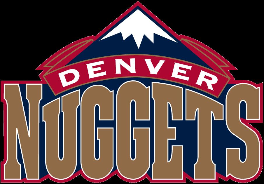 Denver Nuggets Logo Primary Logo (1993/94-2002/03) - A dark blue snowcapped mountain peak over Nuggets script in gold SportsLogos.Net