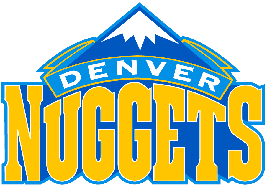 Denver Nuggets Logo Primary Logo (2003/04-2007/08) - A blue snowcapped mountain peak over Nuggets script in yellow SportsLogos.Net
