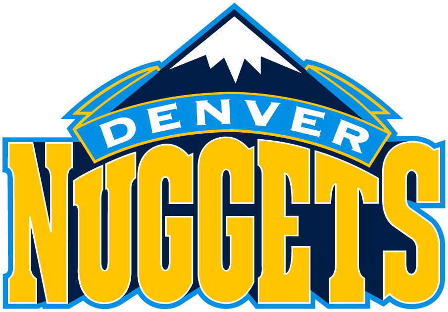 Denver Nuggets Logo Primary Logo (2008/09-2017/18) - A blue snowcapped mountain peak over Nuggets script in yellow SportsLogos.Net