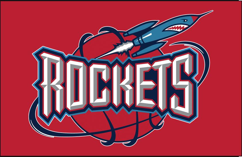 Houston Rockets Logo Primary Dark Logo (1995/96-2002/03) - Primary on red SportsLogos.Net