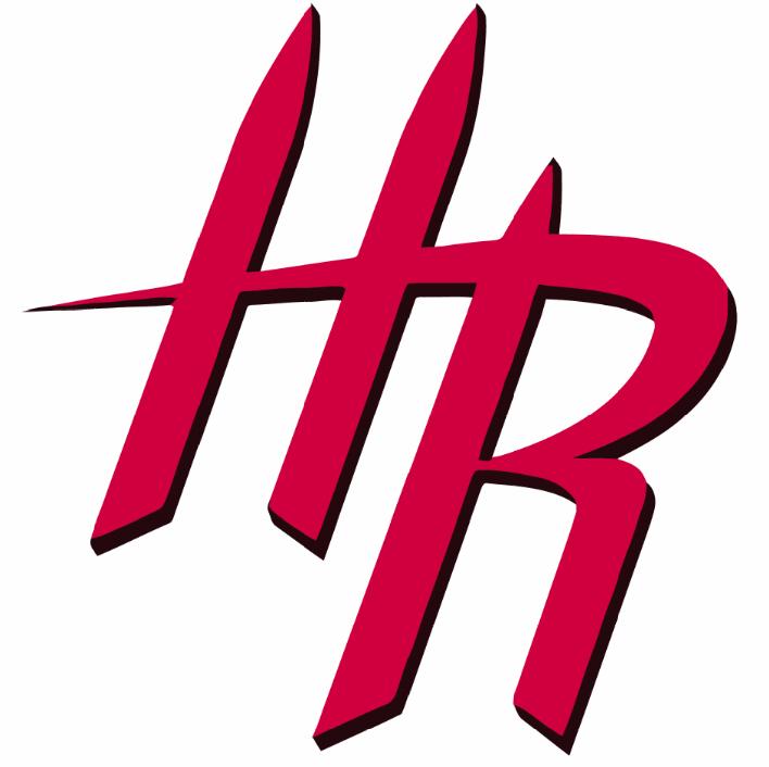 Houston Rockets Logo Alternate Logo (2014/15-2018/19) - A red HR with black drop shadowing SportsLogos.Net