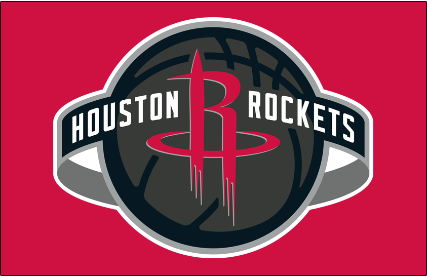Houston Rockets Logo Primary Dark Logo (2019/20-Pres) - Houston Rockets global logo on red SportsLogos.Net