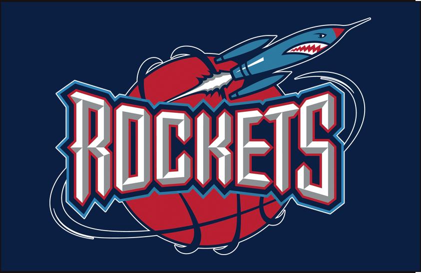 Houston Rockets Logo Primary Dark Logo (1995/96-2002/03) - Primary on blue SportsLogos.Net