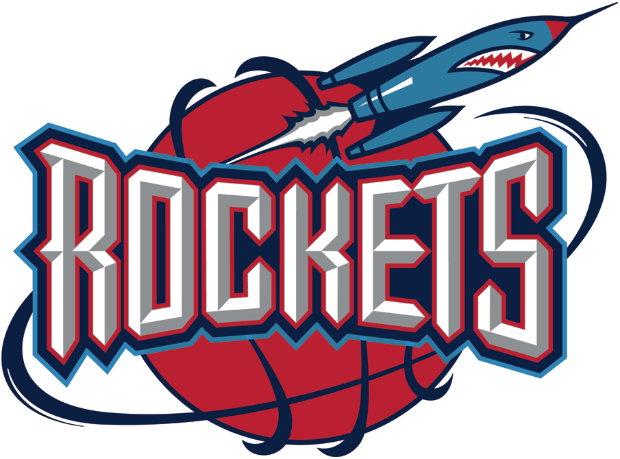 Houston Rockets Logo Primary Logo (1995/96-2002/03) - 'Rockets' on red basketball with a Rocket orbiting around it SportsLogos.Net