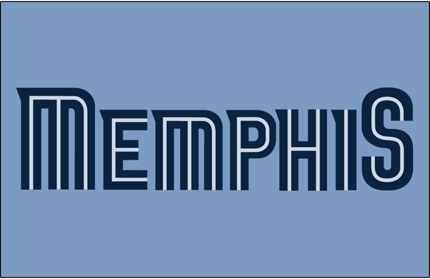 Memphis Grizzlies Logo Jersey Logo (2009/10-2017/18) - Memphis in navy blue split lettering on baby blue, worn on Grizzlies alternate/statement uniform from 2009-10 until 2017-18 SportsLogos.Net