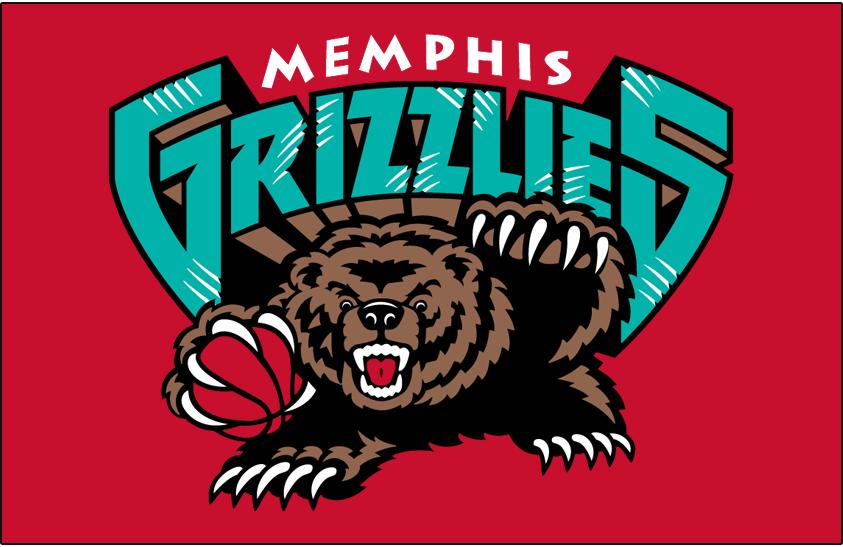 Memphis Grizzlies Logo Primary Dark Logo (2001/02-2003/04) - Memphis Grizzlies primary logo on red SportsLogos.Net