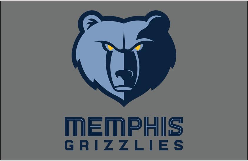 Memphis Grizzlies Logo Primary Dark Logo (2018/19-Pres) - Memphis Grizzlies primary logo on silver SportsLogos.Net