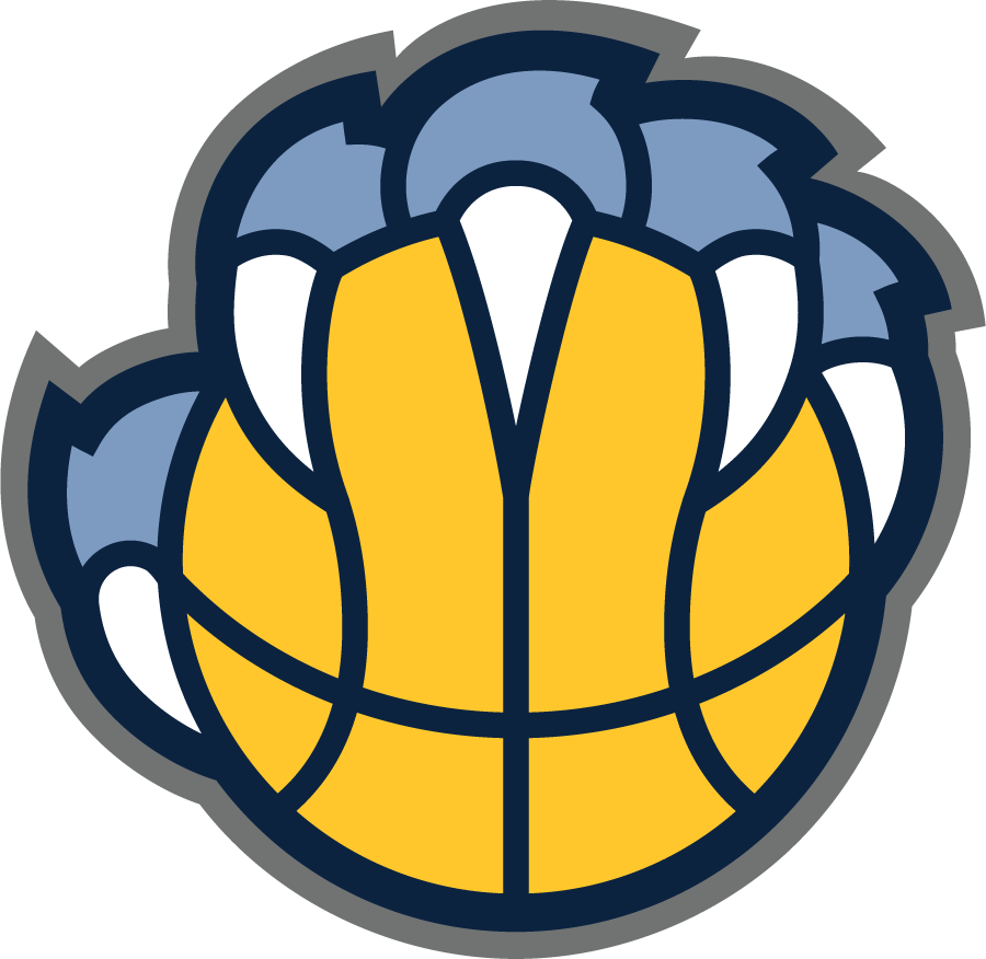 Memphis Grizzlies Logo Alternate Logo (2018/19-Pres) - Grizzly bear claw gripping a basketball, rotated slightly from previous logo to allow claws to form an M, colours also adjusted SportsLogos.Net