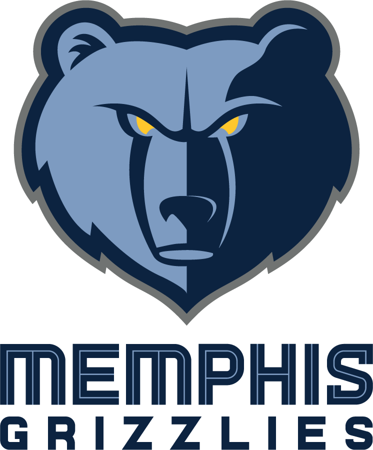 Memphis Grizzlies Logo Primary Logo (2018/19-Pres) - Slight adjustments made to previous Grizzlies logo include removal of lightest of their three blues at the snout, addition of grey outline, and new wordmark SportsLogos.Net