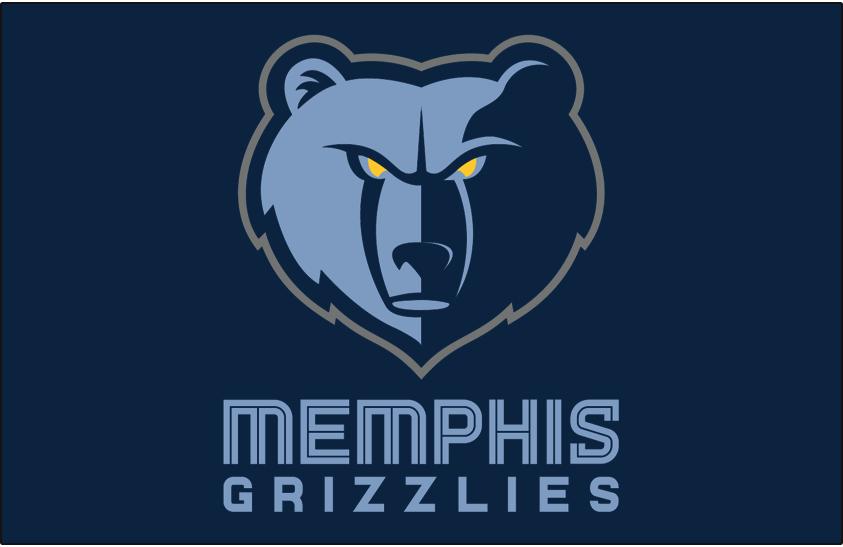 Memphis Grizzlies Logo Primary Dark Logo (2018/19-Pres) - Memphis Grizzlies primary logo on navy blue SportsLogos.Net