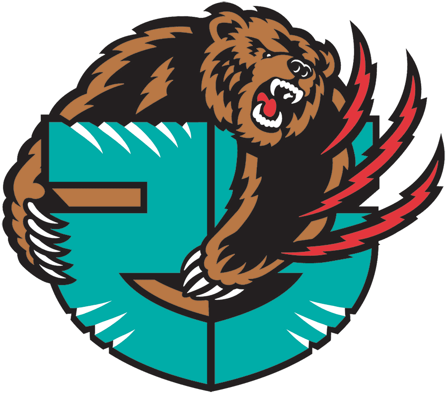 Memphis Grizzlies Logo Anniversary Logo (2019/20) - Memphis Grizzlies 25th season anniversary logo, includes franchise years in Vancouver SportsLogos.Net