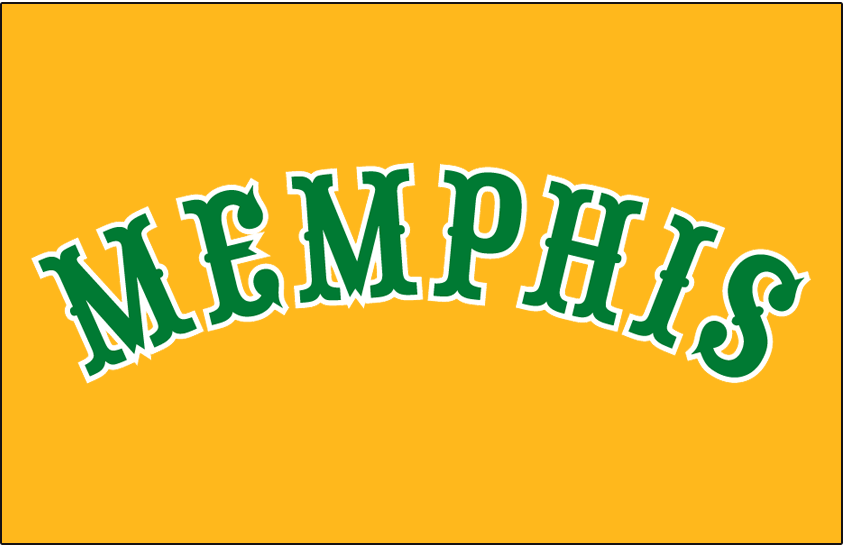 Memphis Grizzlies Logo Throwback Logo (2011/12) - MEMPHIS arched in green on a gold jersey, worn as a Hardwood Classic throwback uniform to the Memphis Tams ABA team by the Memphis Grizzlies in 2011-12 season SportsLogos.Net