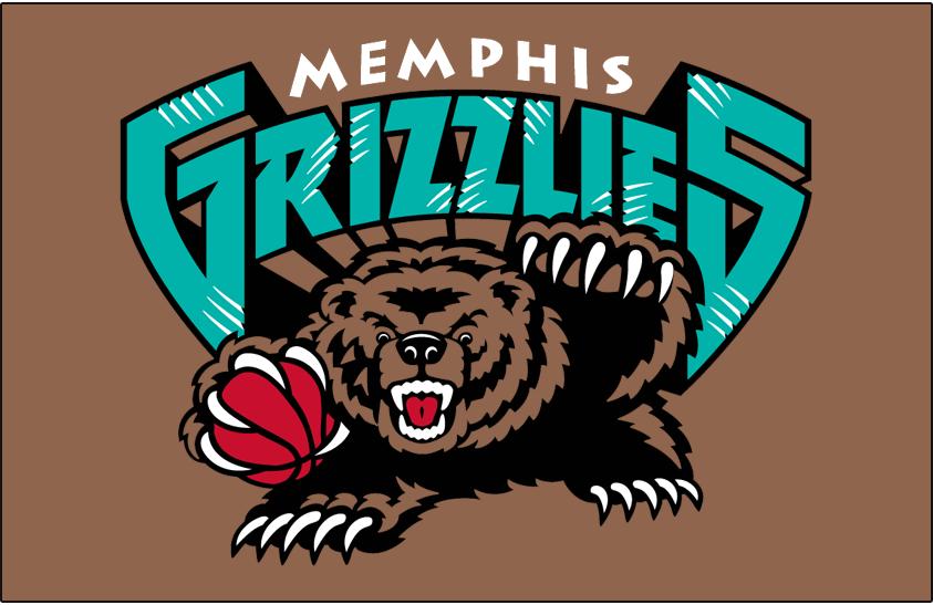 Memphis Grizzlies Logo Primary Dark Logo (2001/02-2003/04) - Memphis Grizzlies primary logo on brown SportsLogos.Net