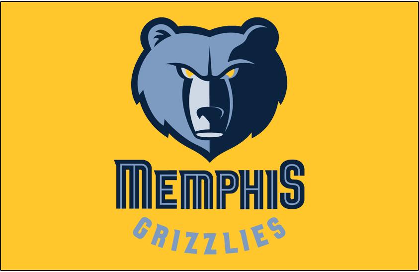 Memphis Grizzlies Logo Primary Dark Logo (2004/05-2017/18) - Memphis Grizzlies primary logo on gold SportsLogos.Net