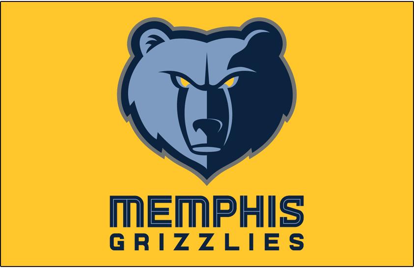 Memphis Grizzlies Logo Primary Dark Logo (2018/19-Pres) - Memphis Grizzlies primary logo on gold SportsLogos.Net