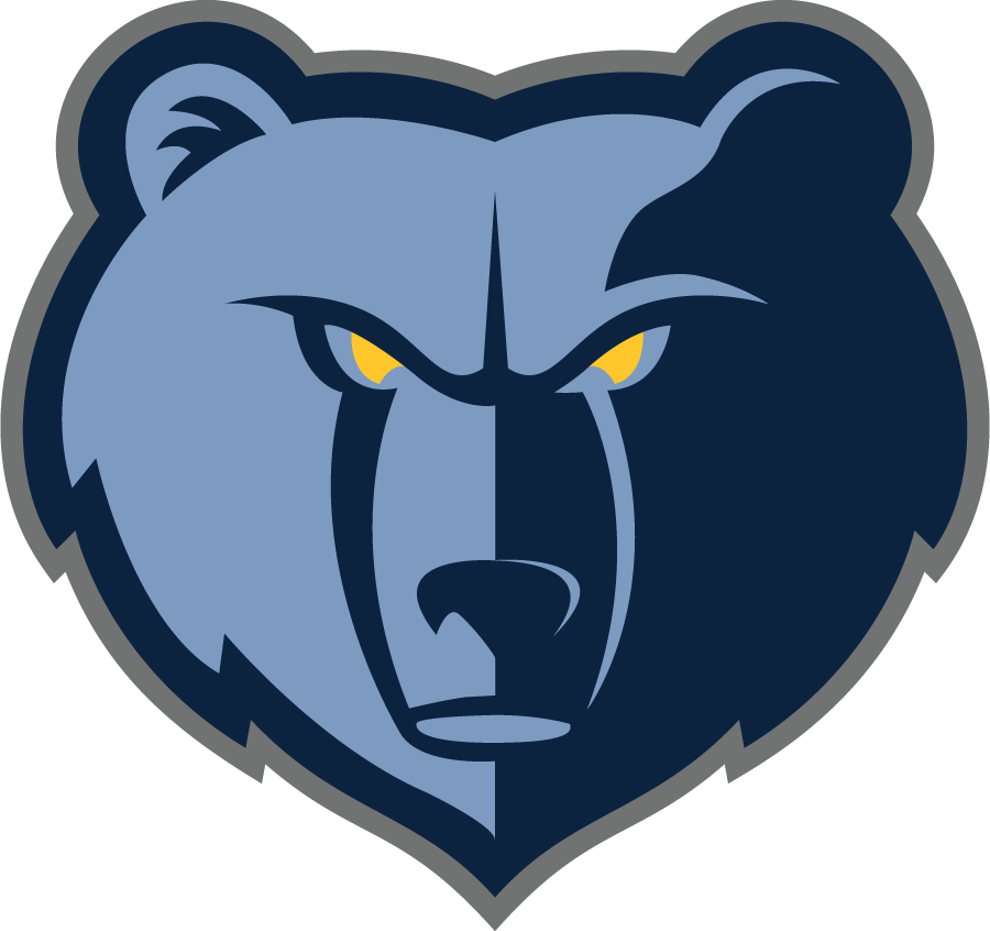 Memphis Grizzlies Logo Alternate Logo (2018/19-Pres) - Slight adjustments made to previous Grizzlies logo include removal of lightest of their three blues at the snout and addition of grey outline SportsLogos.Net