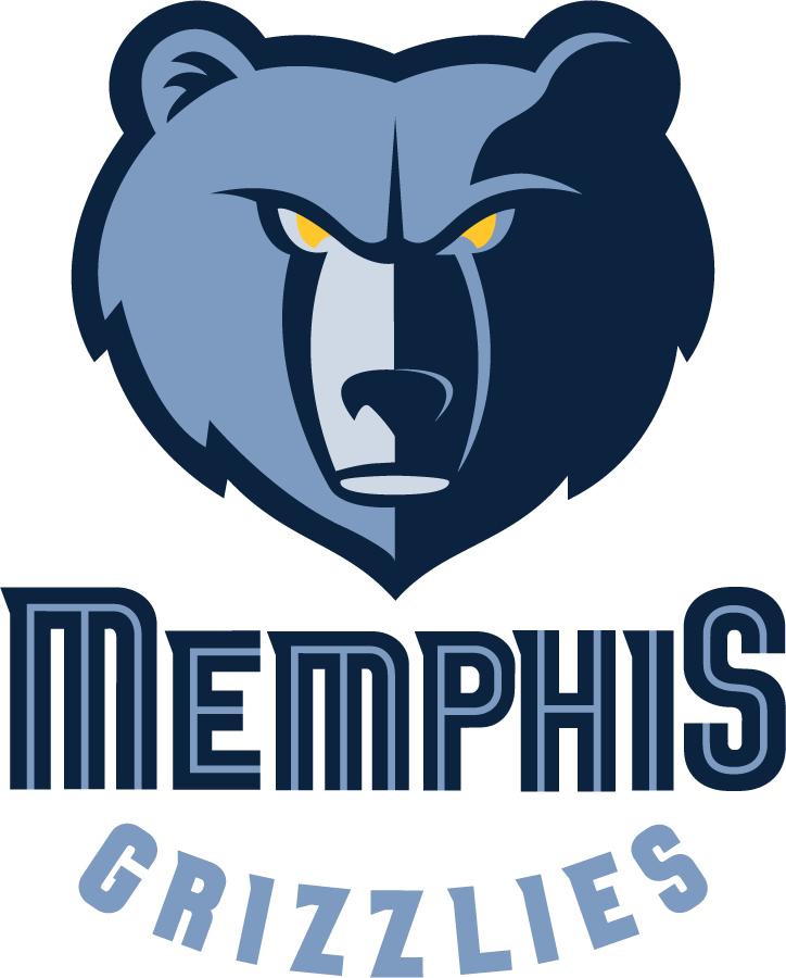 Memphis Grizzlies Logo Primary Logo (2004/05-2017/18) - A blue bear head above Memphis Grizzlies script SportsLogos.Net