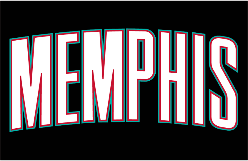 Memphis Grizzlies Logo Jersey Logo (2001/02-2003/04) - Memphis in white with red and teal trim on black, worn on Grizzlies road black uniforms during their first three seasons in Memphis SportsLogos.Net