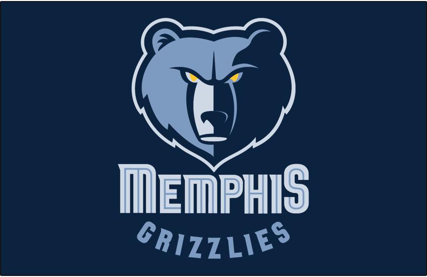 Memphis Grizzlies Logo Primary Dark Logo (2004/05-2017/18) - Memphis Grizzlies primary logo on navy blue SportsLogos.Net
