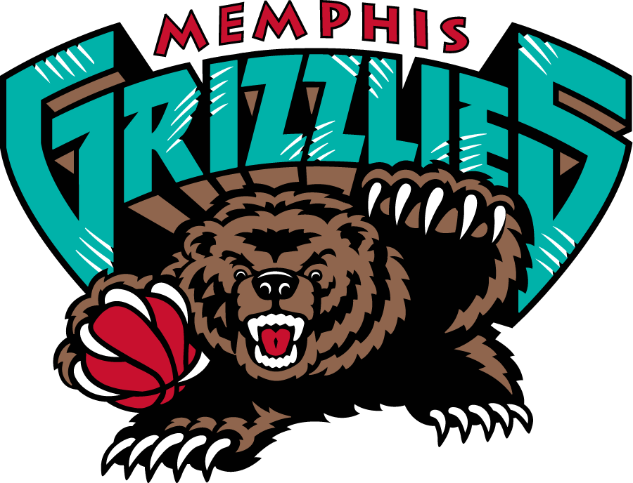 Memphis Grizzlies Logo Primary Logo (2001/02-2003/04) - A bear holding basketball with Memphis Grizzlies written above SportsLogos.Net