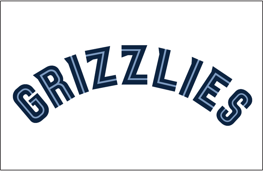 Memphis Grizzlies Logo Jersey Logo (2004/05-2017/18) - Grizzlies in two-toned blue split lettering arched, worn across the front of the Memphis Grizzlies home/white/association jersey from 2004-05 until 2017-18 SportsLogos.Net