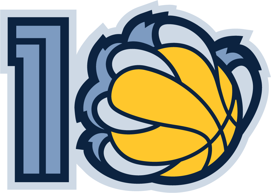 Memphis Grizzlies Logo Anniversary Logo (2010/11) - Memphis Grizzlies 10th Anniversary Logo SportsLogos.Net