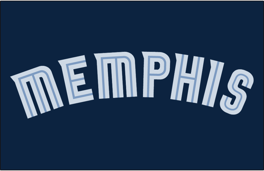 Memphis Grizzlies Logo Jersey Logo (2004/05-2017/18) - Memphis in two-toned blue split lettering arched on navy blue, worn across the front of the Memphis Grizzlies road/navy blue/icon jersey from 2004-05 through 2017-18 SportsLogos.Net