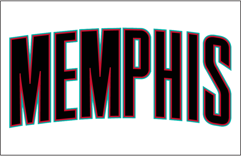 Memphis Grizzlies Logo Jersey Logo (2001/02-2003/04) - Memphis in black with teal and red outline, worn on Grizzlies home white uniform during their first three seasons in Memphis SportsLogos.Net