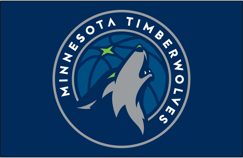 Minnesota Timberwolves Logo Primary Dark Logo (2017/18-Pres) - Primary on blue SportsLogos.Net