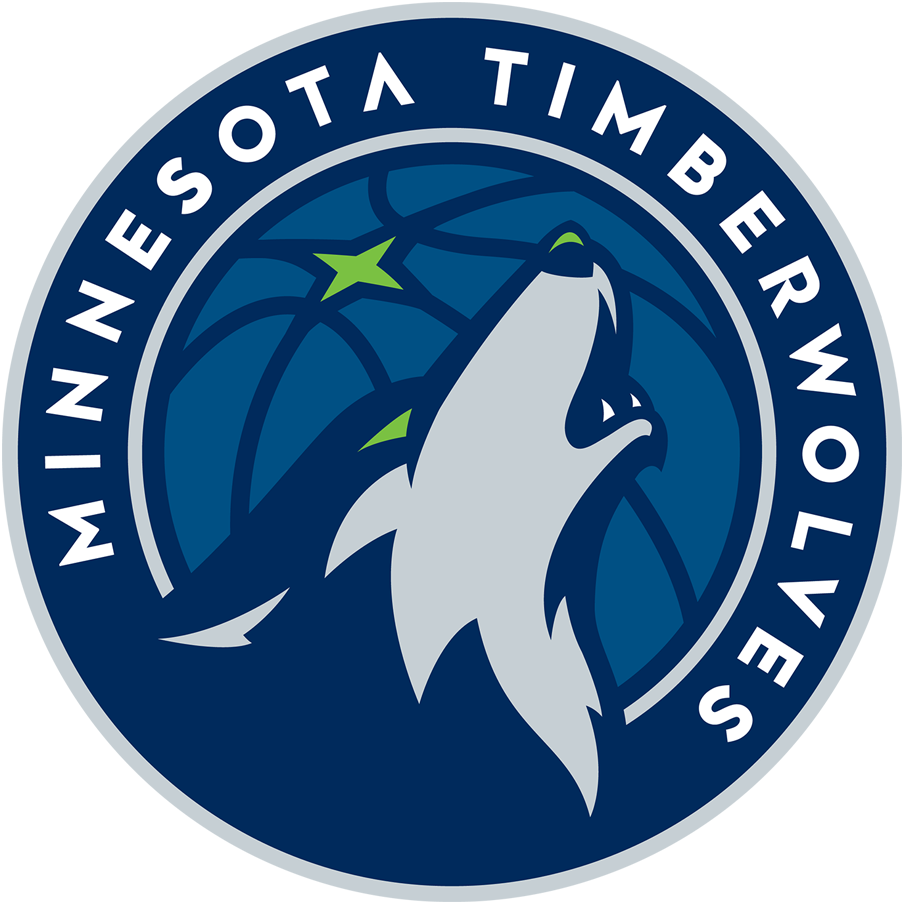 Minnesota Timberwolves Logo Primary Logo (2017/18-Pres) - A blue and grey wolf facing up howling with a green eye looking at the North Star in gree. Logo is in a roundel with team name written around it. SportsLogos.Net