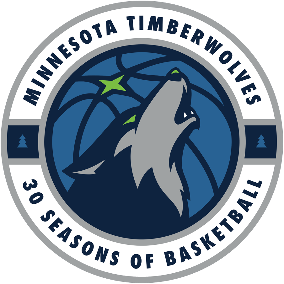 Minnesota Timberwolves Logo Anniversary Logo (2018/19) - Minnesota Timberwolves 30th season logo SportsLogos.Net