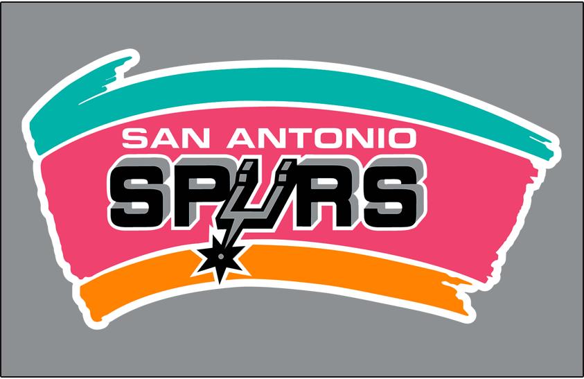 San Antonio Spurs Logo Primary Dark Logo (1989/90-2001/02) - Spurs primary on silver SportsLogos.Net