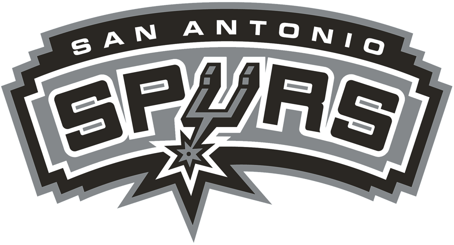 San Antonio Spurs Logo Primary Logo (2002/03-2016/17) - Spurs in black with the U forming a Spur on silver SportsLogos.Net