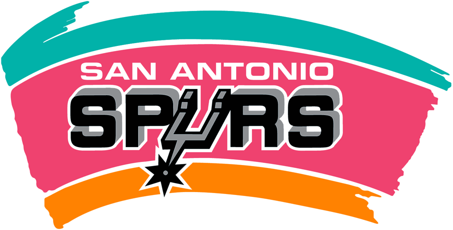 San Antonio Spurs Logo Primary Logo (1989/90-2001/02) - Spurs in black with silver outline and a Spur forming the U on tri-color ba SportsLogos.Net