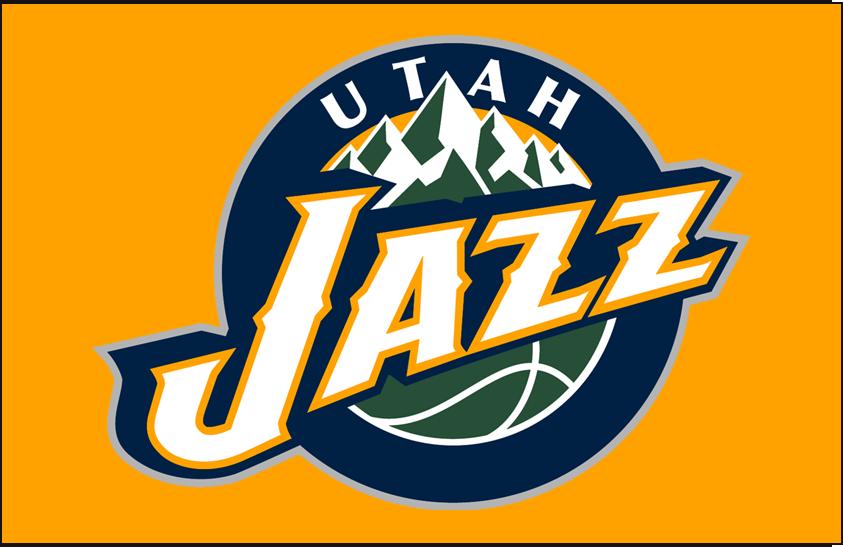 Utah Jazz Logo Primary Dark Logo (2010/11-2015/16) - Primary on Dark Yellow SportsLogos.Net