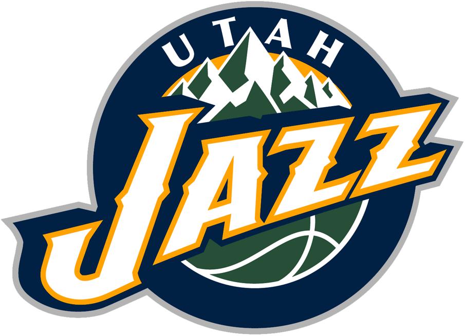 Utah Jazz Logo Primary Logo (2010/11-2015/16) - Jazz in white in front of green mountains on a blue circle SportsLogos.Net