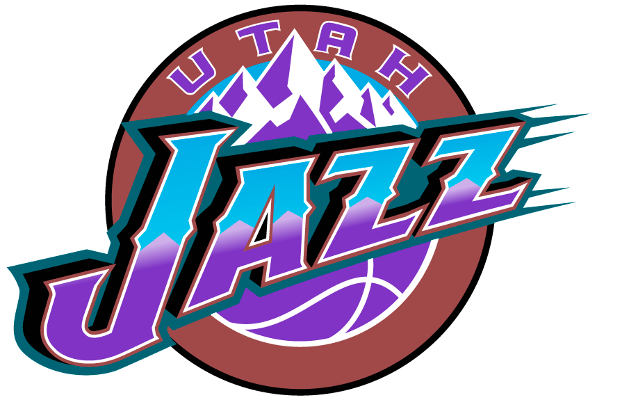 Utah Jazz Logo Primary Logo (1996/97-2003/04) - Jazz in purple and blue against mountains in a copper circle SportsLogos.Net