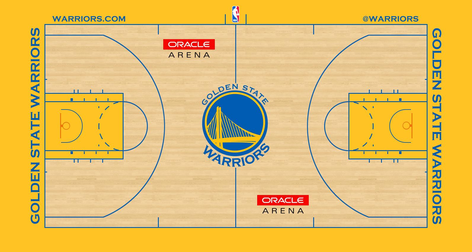 Golden State Warriors Playing Surface Playing Surface (2012/13-2018/19) - Golden State Warriors home court design - Oracle Arena SportsLogos.Net