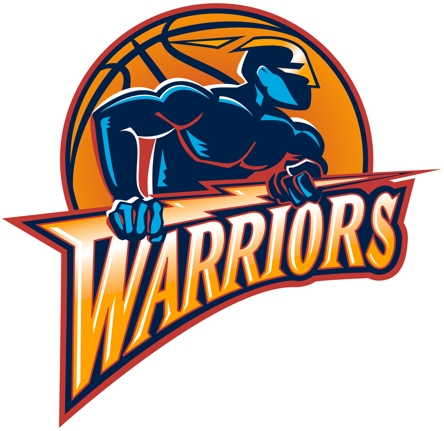 Golden State Warriors Logo Primary Logo (1997/98-2009/10) - A blue warrior holding a lightning bolt in front of an orange basketball with gradiant SportsLogos.Net