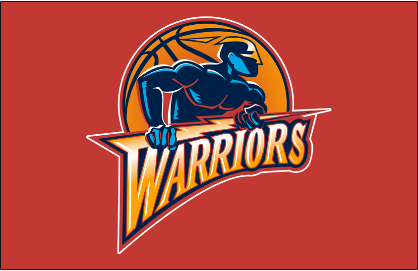 Golden State Warriors Logo Primary Dark Logo (1997/98-2009/10) - Primary on Orange SportsLogos.Net