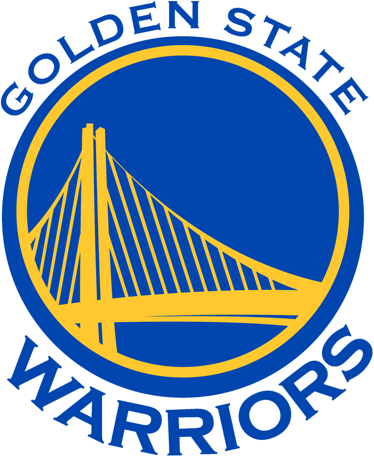 Golden State Warriors Logo Primary Logo (2010/11-2018/19) - A span of the Bay Area Bridge in yellow on a blue circle with team name around it SportsLogos.Net