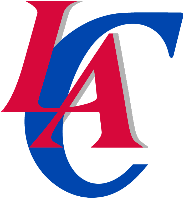 Los Angeles Clippers Logo Alternate Logo (2010/11-2014/15) - LA in red, C in blue on a grey drop-shadow SportsLogos.Net