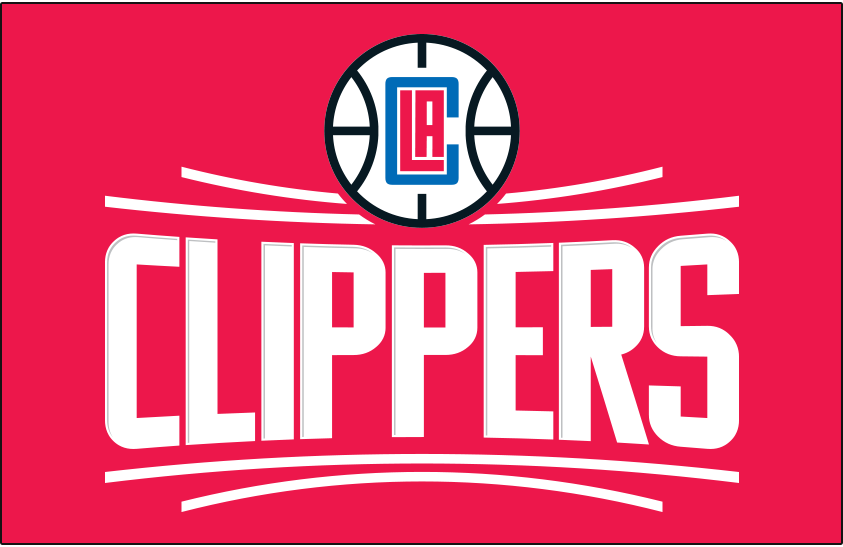 Los Angeles Clippers Logo Primary Dark Logo (2015/16-Pres) - Los Angeles Clippers primary logo on red SportsLogos.Net