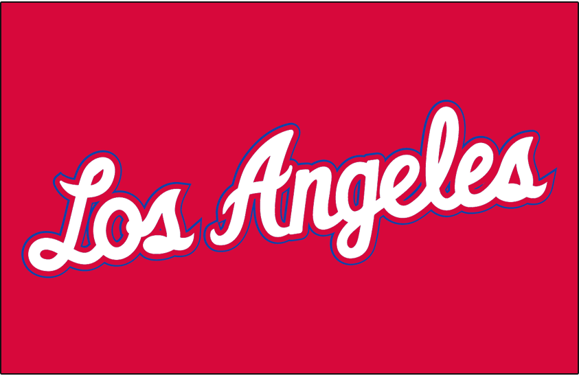 Los Angeles Clippers Logo Jersey Logo (2010/11-2014/15) - Los Angeles in white script with red and blue trim on red, worn on LA Clippers road jersey from 2011-2015 SportsLogos.Net