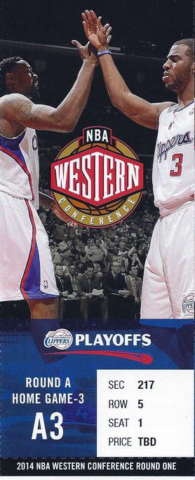 Los Angeles Clippers Ticket Stub Ticket Stub (2013/14) - Los Angeles Clippers 2014 Western Conference Quarterfinals ticket stub SportsLogos.Net